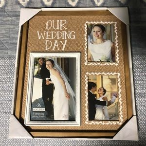 """3-Photo """"Our Wedding Day"""" Burlap  Picture Frame"""